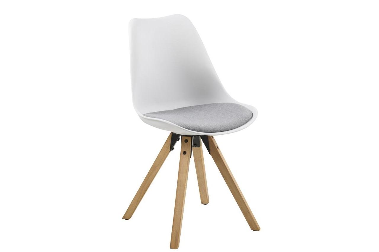 Scaun din plastic, sezut tapitat cu stofa si picioare din lemn Dima Alb / Stejar, l48,5xA55xH85 cm