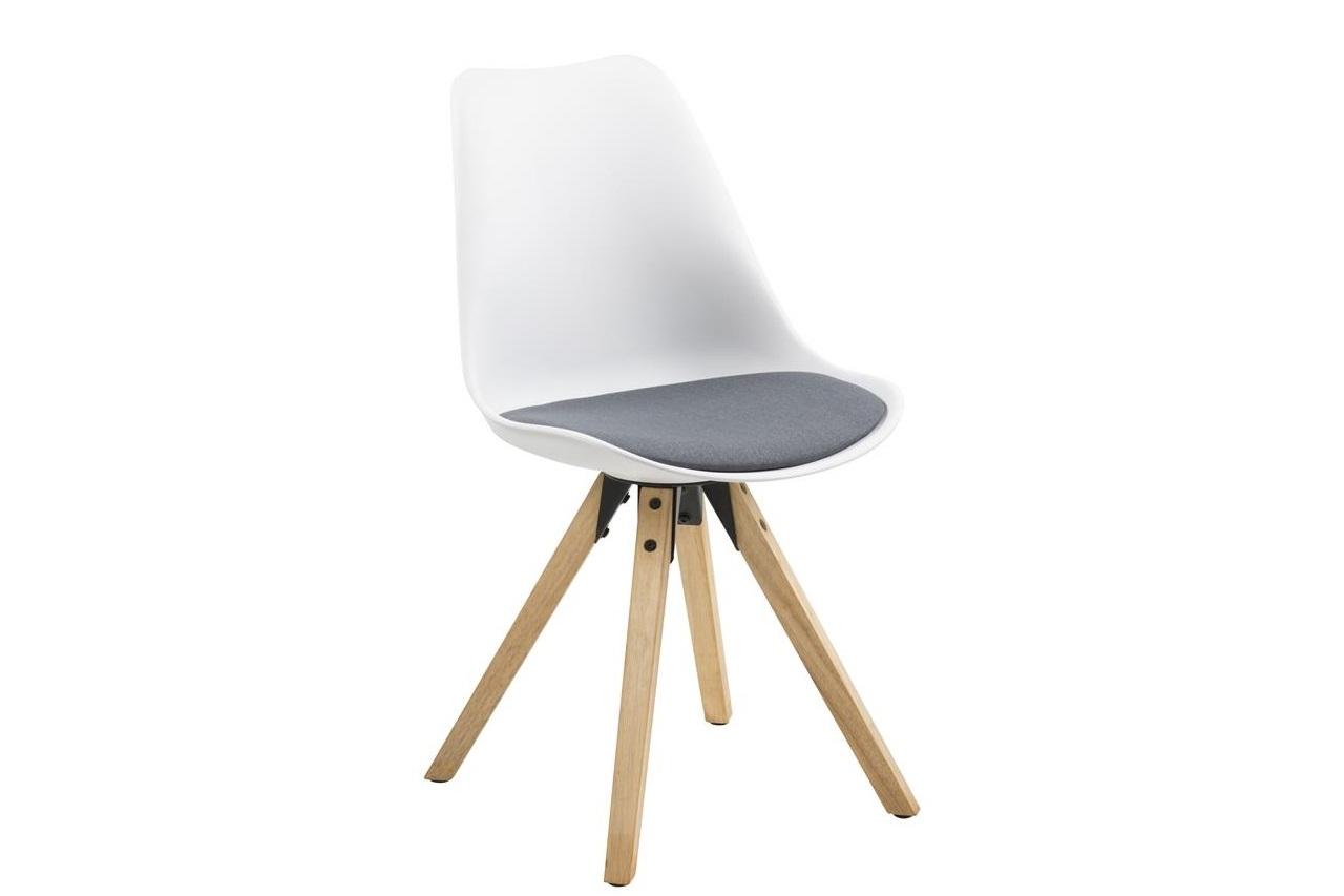 Scaun din plastic, sezut tapitat cu stofa si picioare din lemn Dima II Alb / Stejar, l48,5xA55xH85 cm