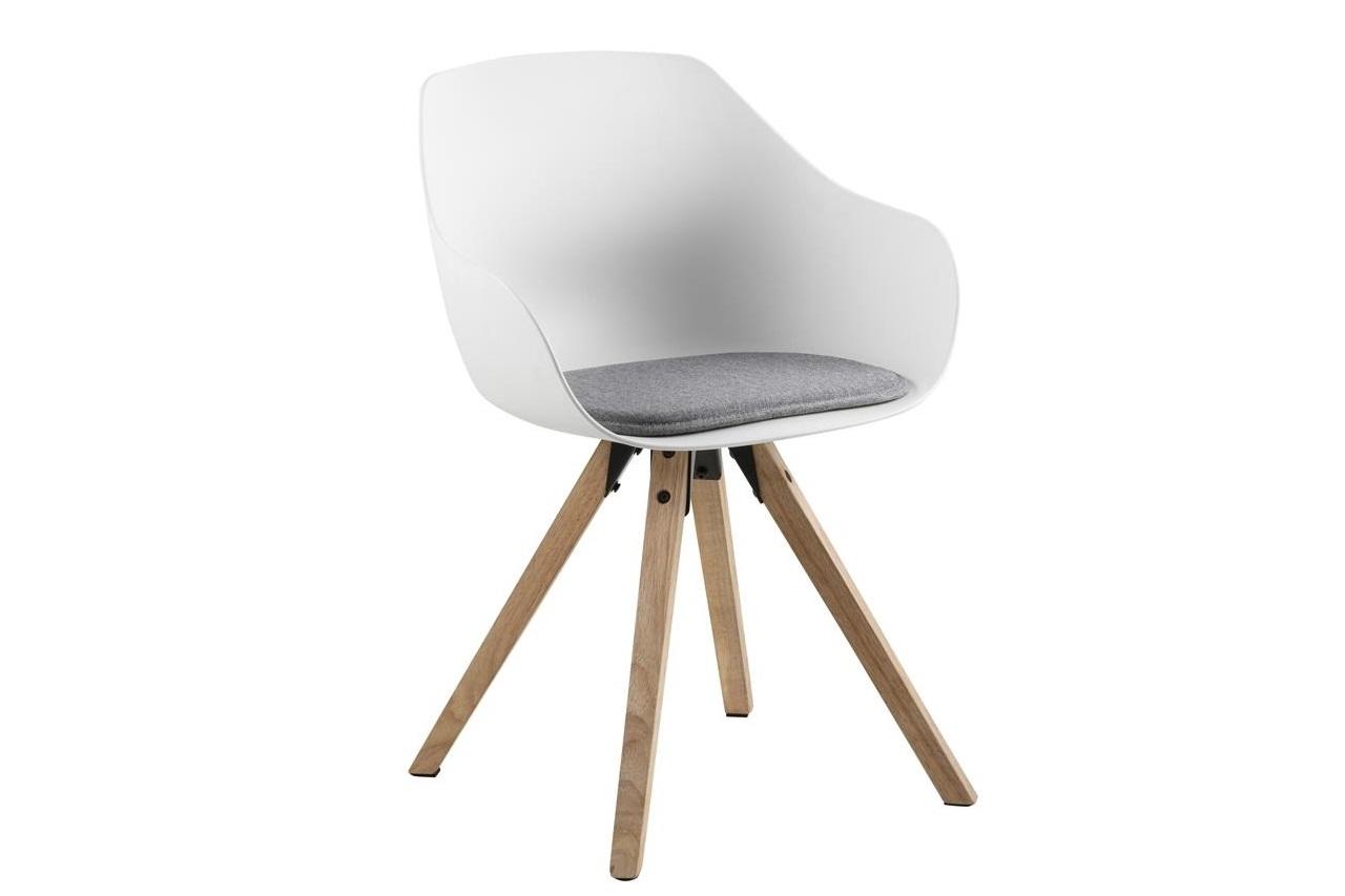 Scaun din plastic, sezut tapitat cu stofa si picioare din lemn Tina Alb / Stejar, l56,5xA53xH80,5 cm