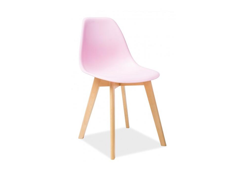 Scaun din plastic si lemn Moris Beech Pink