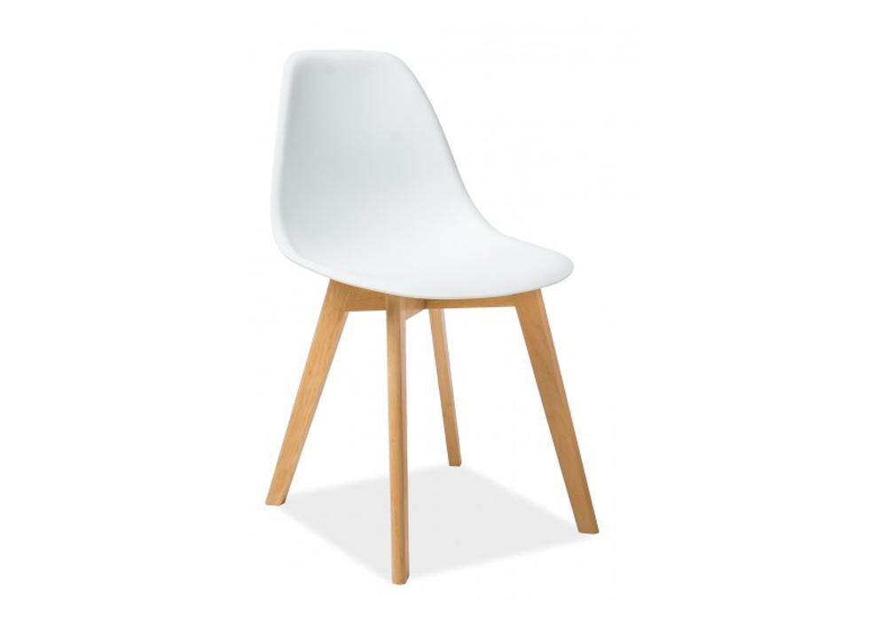 Scaun din plastic, cu picioare din lemn Moris White / Beech, l46xA38xH85 cm