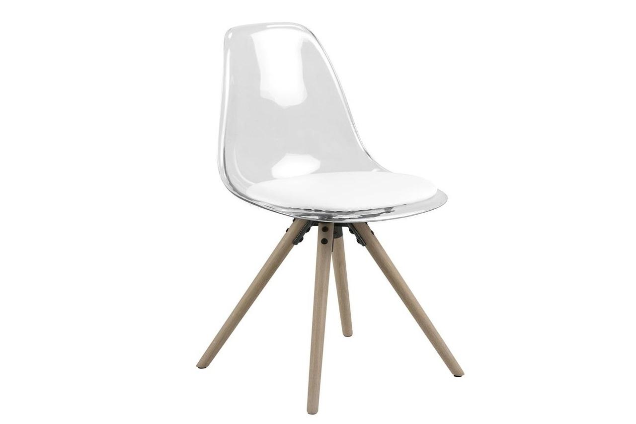 Scaun din plastic si picioare din lemn Hanning Alb, l47xA53xH81,5 cm
