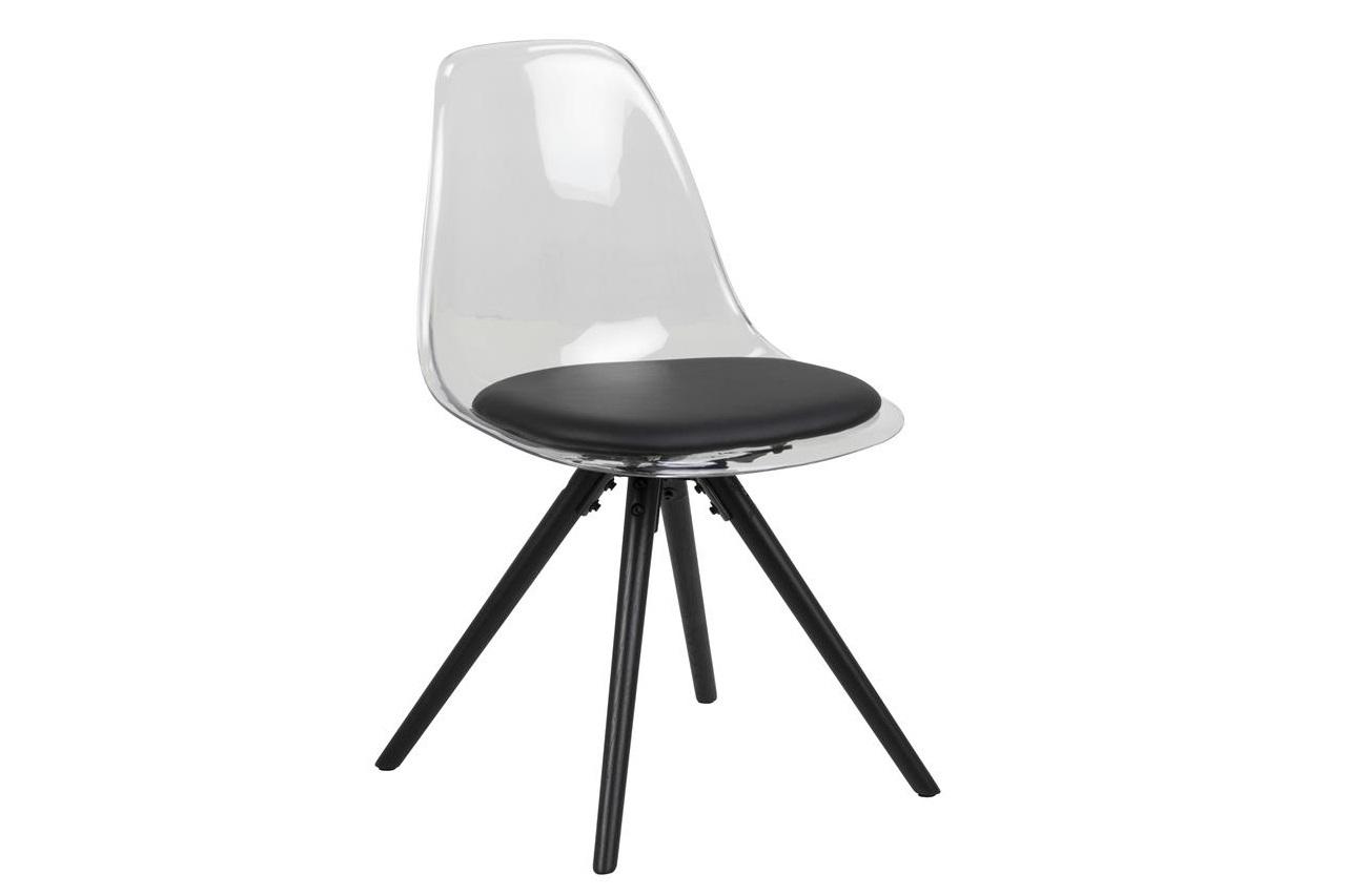 Scaun din plastic si picioare din lemn Hanning Negru, l47xA53xH81,5 cm