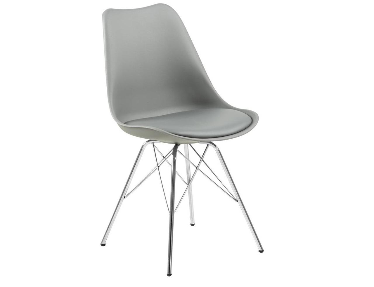 Scaun din plastic, sezut tapitat cu piele ecologica si picioare metalice Eris Gri / Crom, l48,5xA54xH85,5 cm