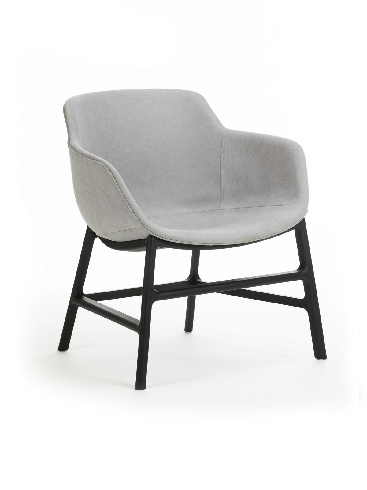 Scaun din plastic tapitat cu stofa, cu picioare din metal Shirley Grey, l63xA62xH70 cm