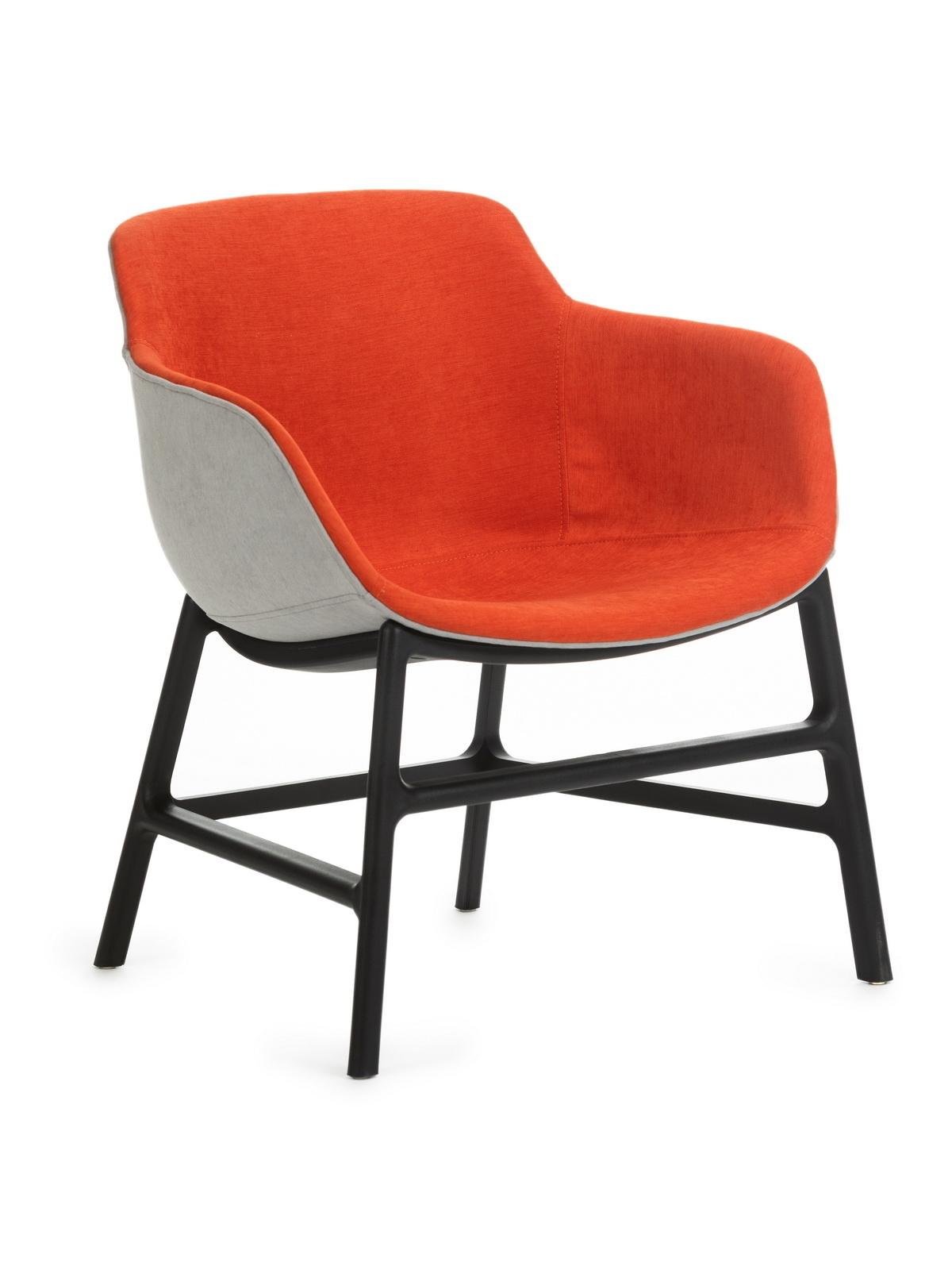 Scaun din plastic tapitat cu stofa, cu picioare din metal Shirley Orange, l63xA62xH70 cm