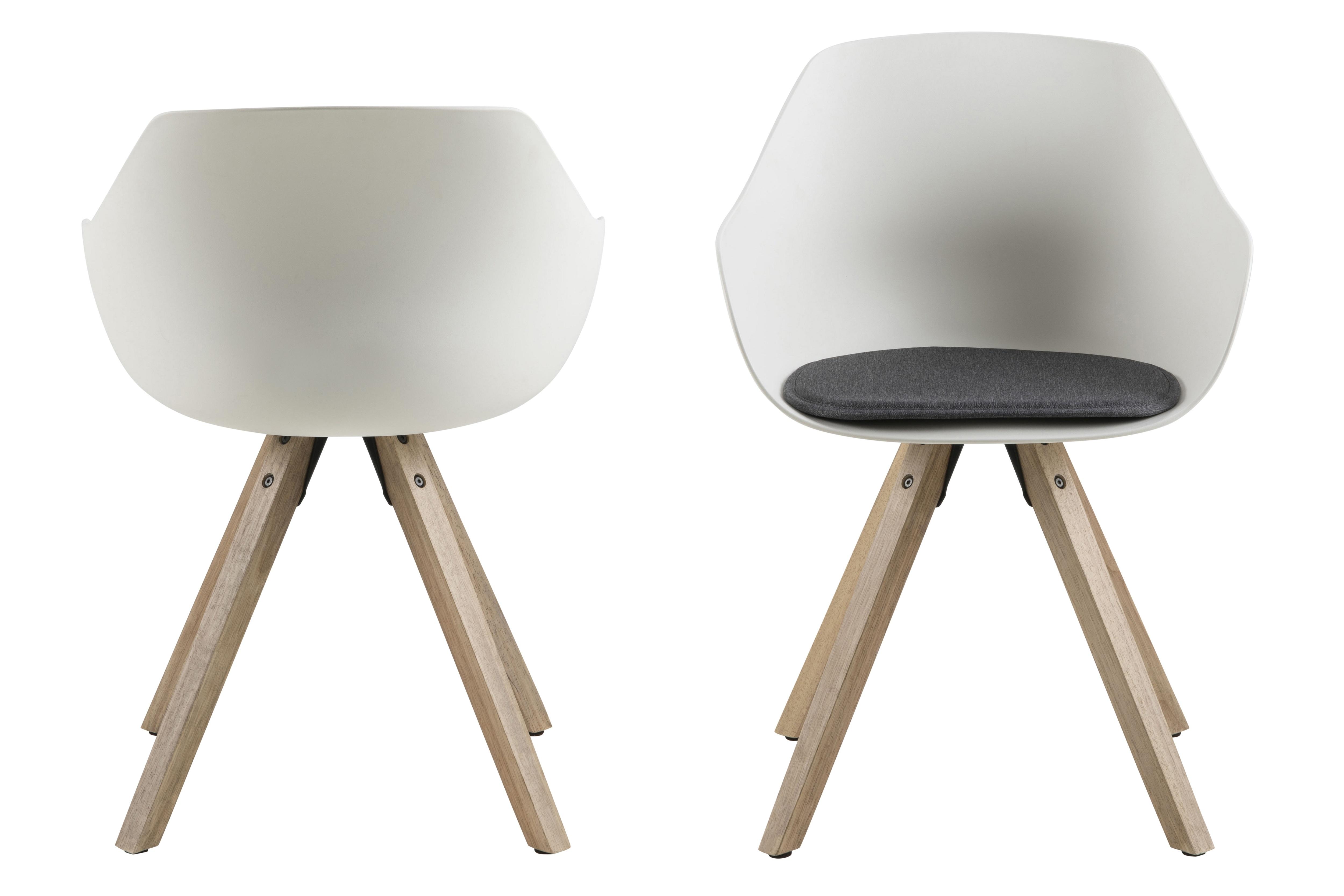 Set 2 scaune din plastic Tina White / Natur