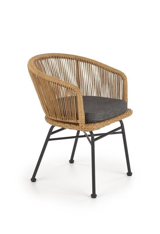 Scaun din ratan cu picioare metalice K400 Natural / Negru, l55xA47xH74 cm