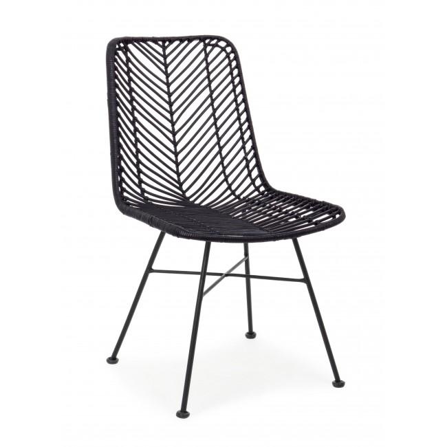 Scaun din ratan, cu picioare metalice Lorena Negru, l50xA64xH89 cm