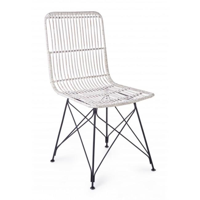 Scaun din ratan cu picioare metalice Lucila Alb, l45xA55xH85 cm