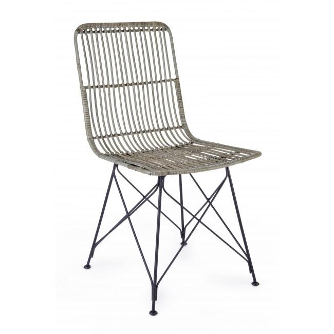 Scaun din ratan cu picioare metalice Lucila Gri, l45xA55xH85 cm