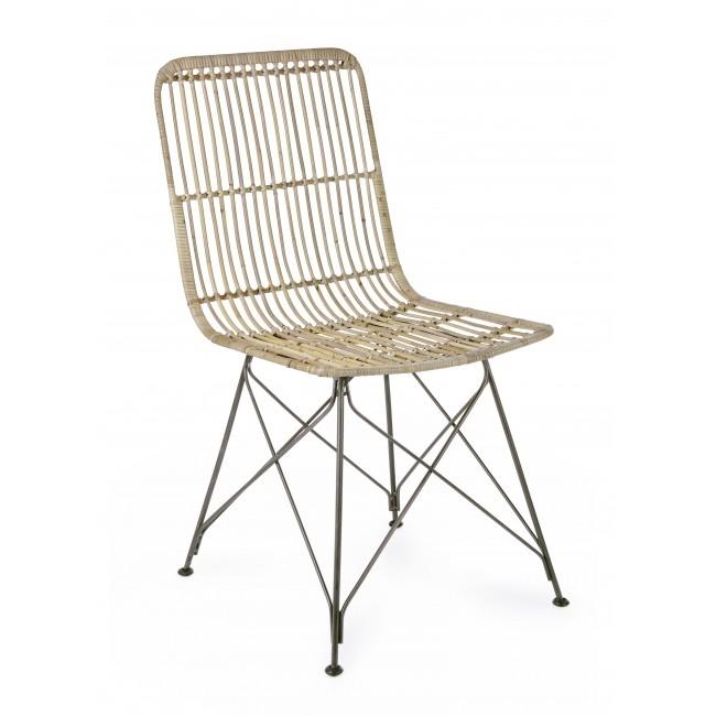 Scaun din ratan cu picioare metalice Lucila Natural, l45xA55xH85 cm