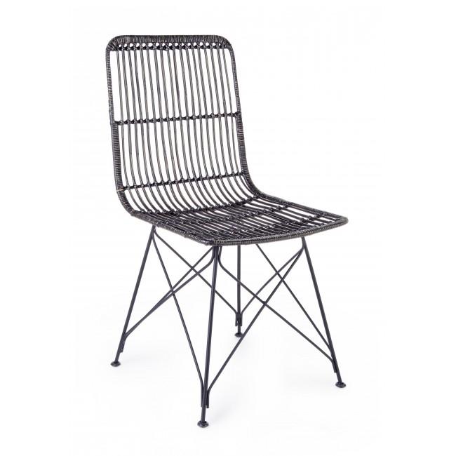 Scaun din ratan cu picioare metalice Lucila Negru, l45xA55xH85 cm
