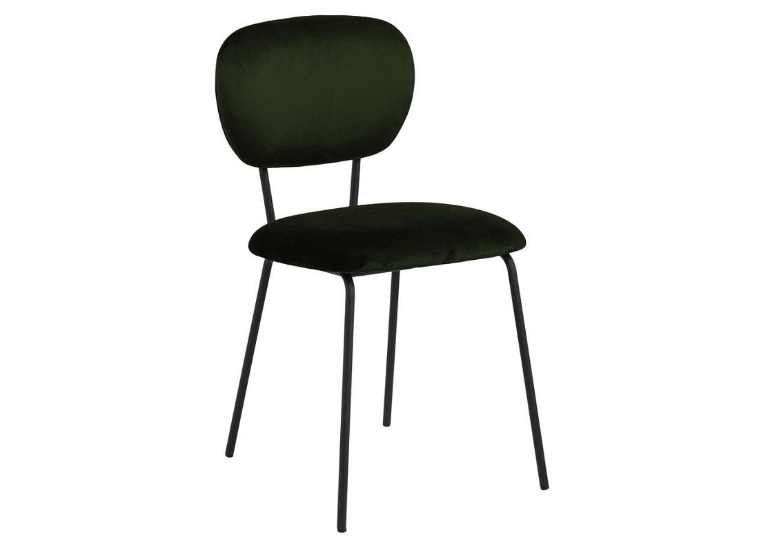 Scaun tapitat cu stofa si picioare metalice Ariana Verde Olive / Negru, l44xA54xH81,5 cm