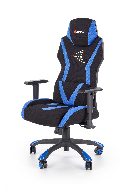 Scaun gaming, tapitat cu stofa Storm Negru / Albastru, l69xA60xH119-128 cm imagine