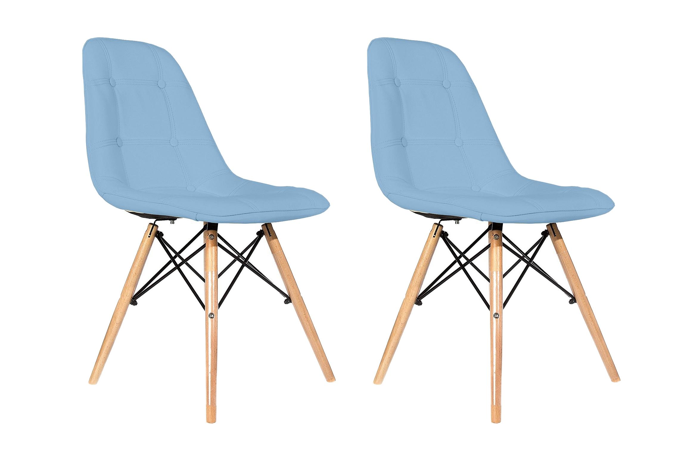 Set 2 scaune tapitate cu piele ecologica si picioare de lemn Iars Blue l41xA36xH83 cm