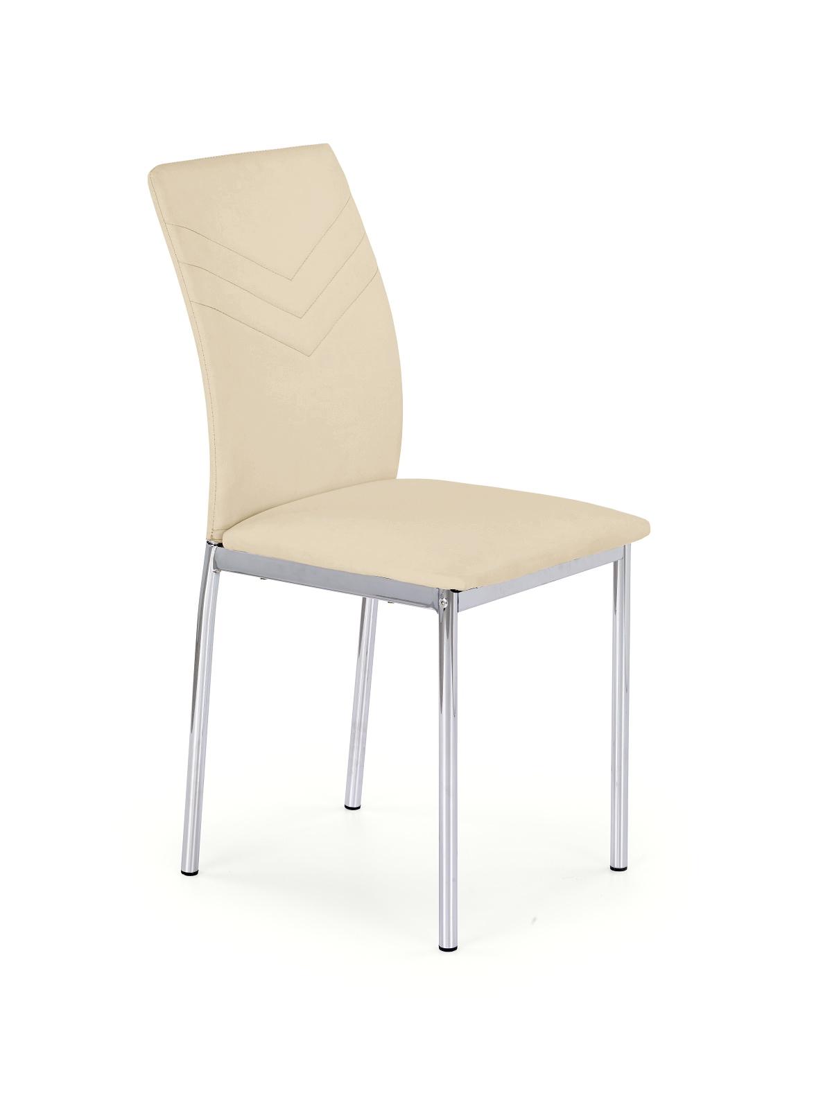 Scaun tapitat cu piele ecologica, cu picioare metalice K137 Beige, l43xA49xH92 cm