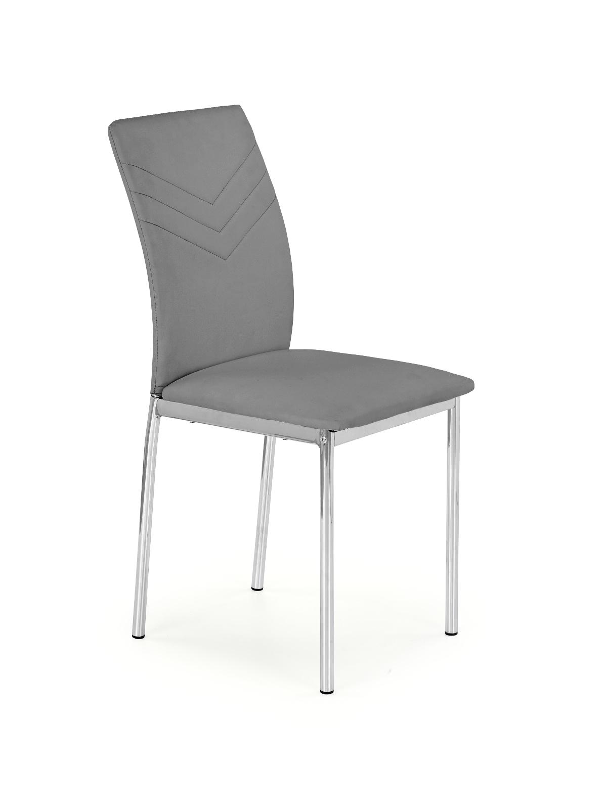Scaun tapitat cu piele ecologica, cu picioare metalice K137 Grey, l43xA49xH92 cm
