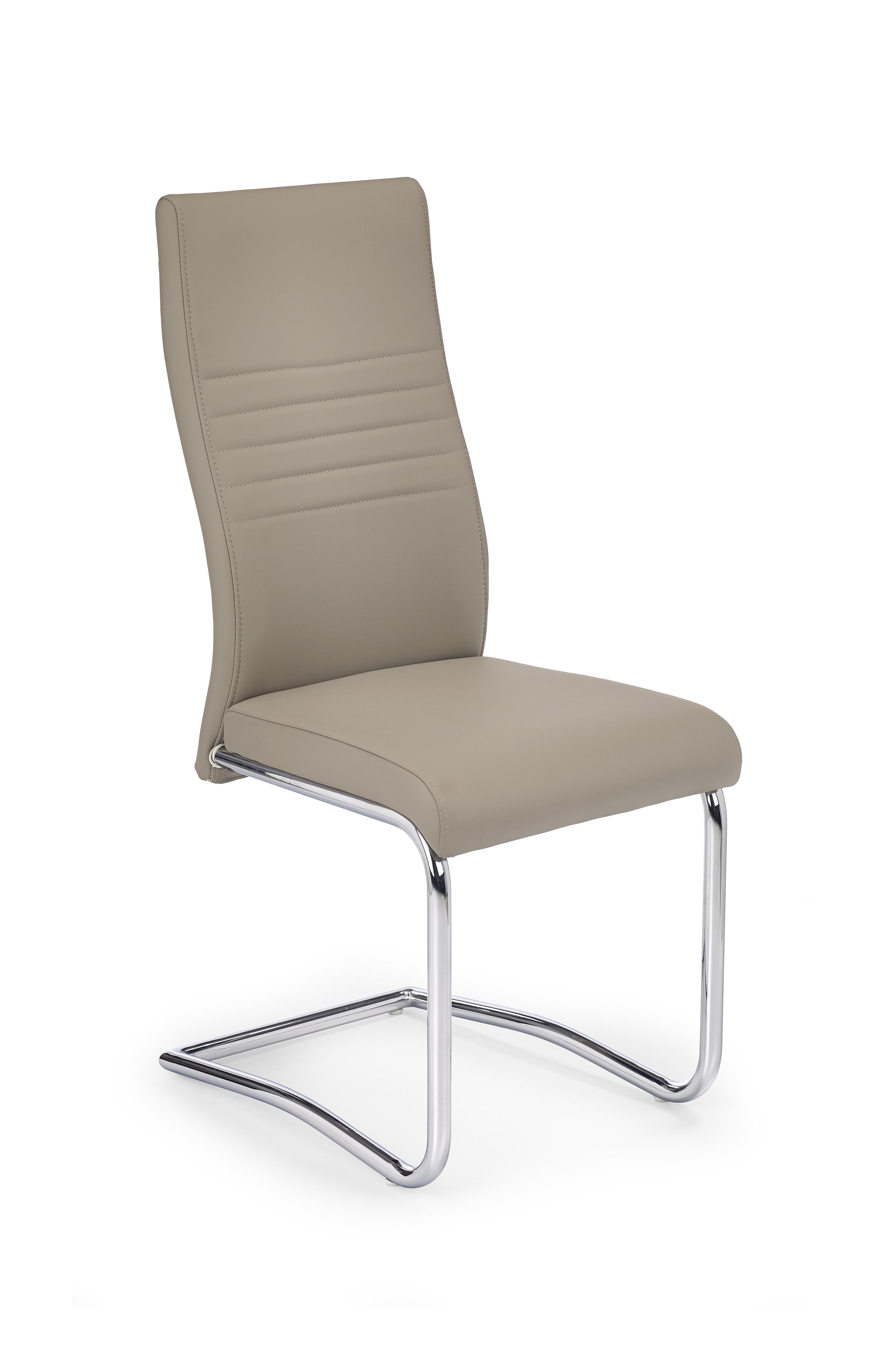 Scaun tapitat cu piele ecologica, cu picioare metalice K183 Cappuccino, l43xA58xH101 cm