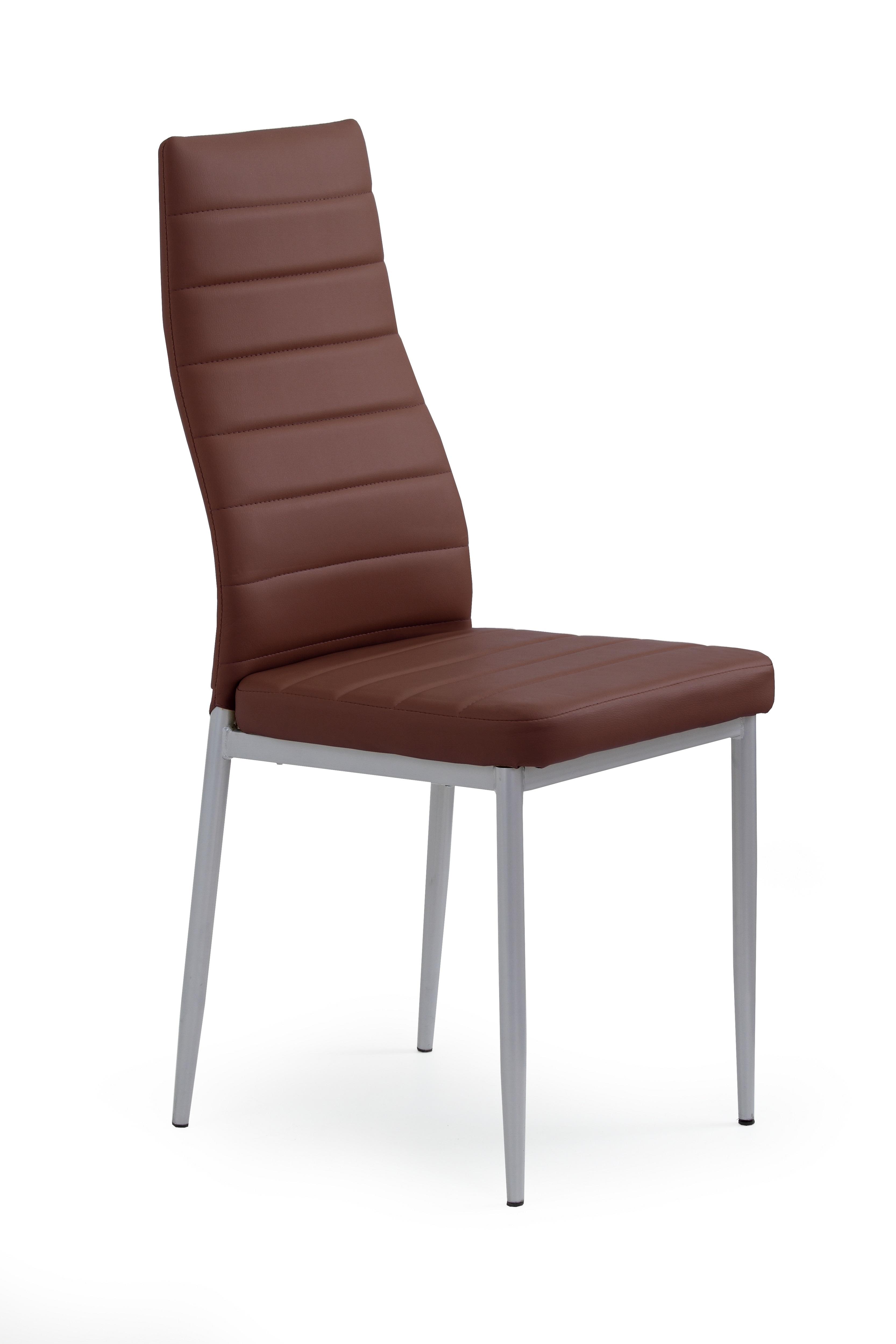 Scaun tapitat cu piele ecologica, cu picioare metalice K70 Dark Brown, l41xA50xH98 cm imagine