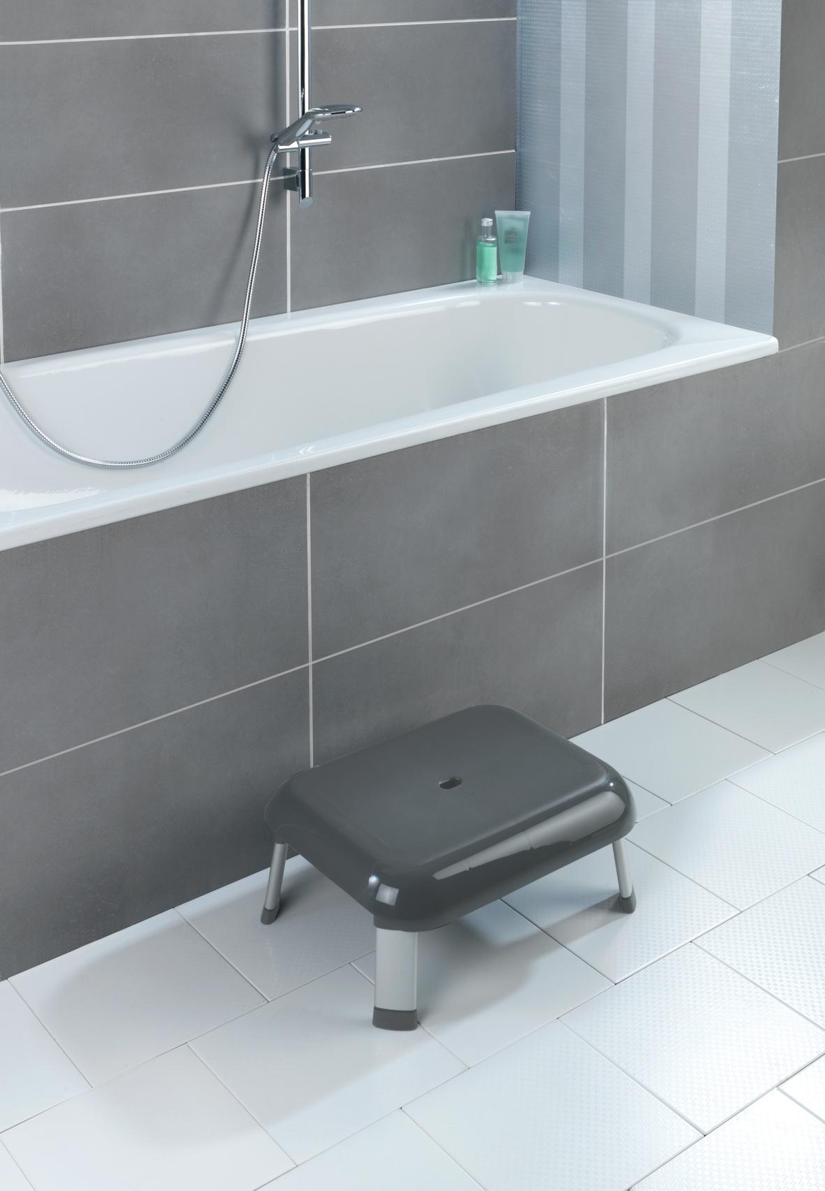 Scaun mic pentru dus, picioare din aluminiu, Secura Premium Antracit, l46,5xA36xH20 cm imagine