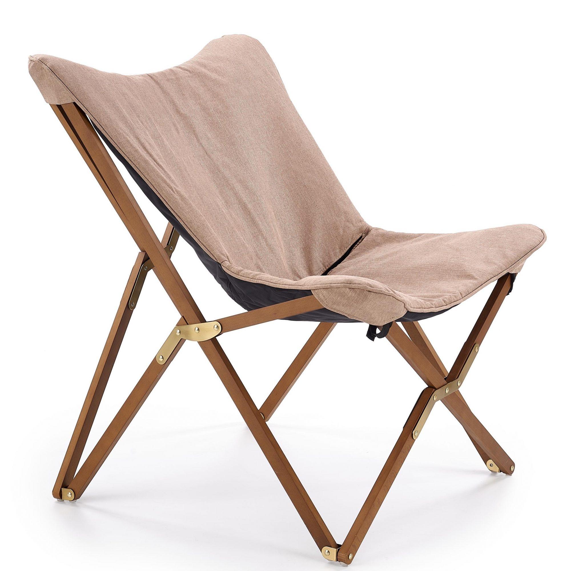 Scaun pliabil din lemn si stofa Volant Beige / Walnut, l76xA83xH97 cm