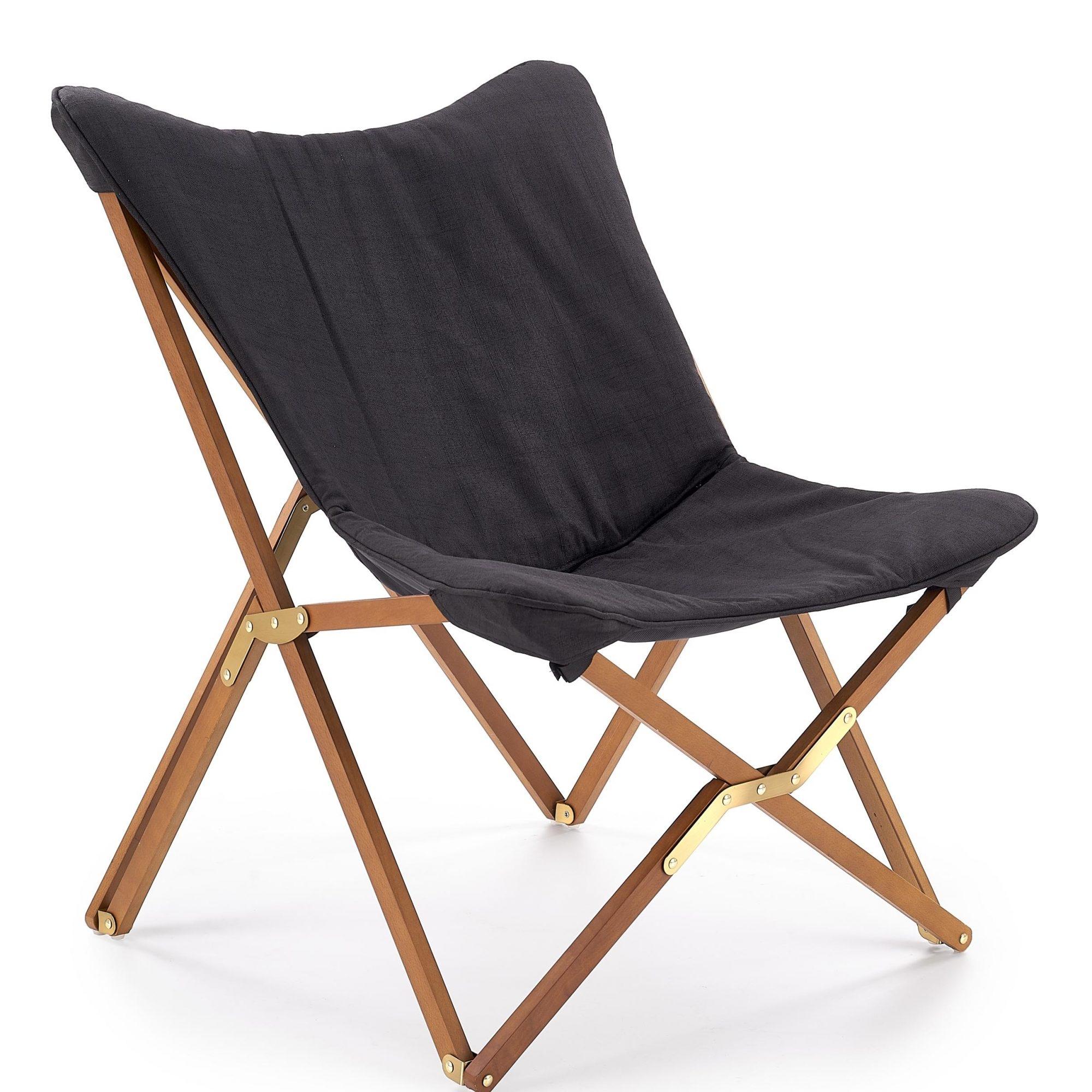 Scaun pliabil din lemn si stofa Volant Dark Grey / Walnut l76xA83xH97 cm