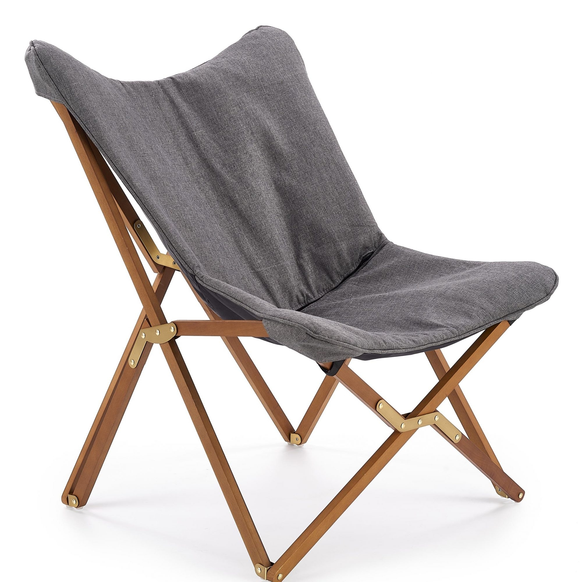 Scaun pliabil din lemn si stofa Volant Grey / Walnut l76xA83xH97 cm