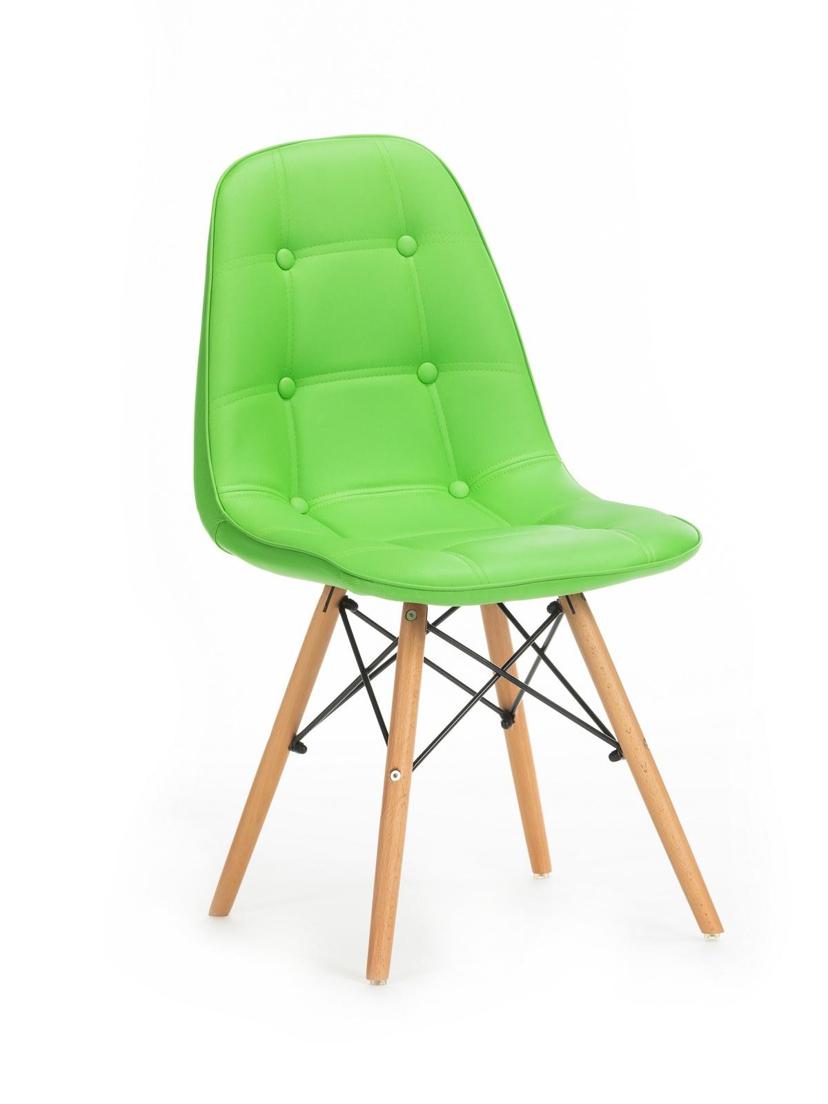 Scaun tapitat cu piele ecologica cu picioare de lemn Stag Green l55xA48xH83 cm