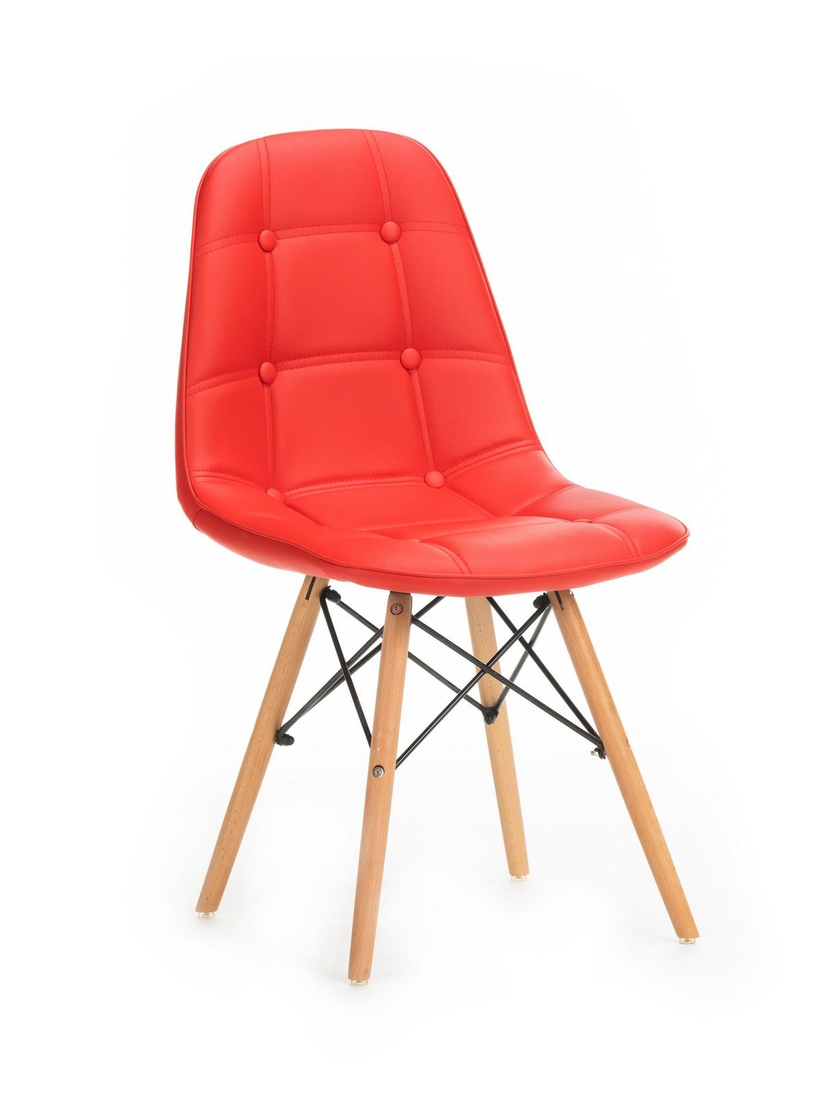 Scaun tapitat cu piele ecologica, cu picioare de lemn Stag Red, l55xA48xH83 cm