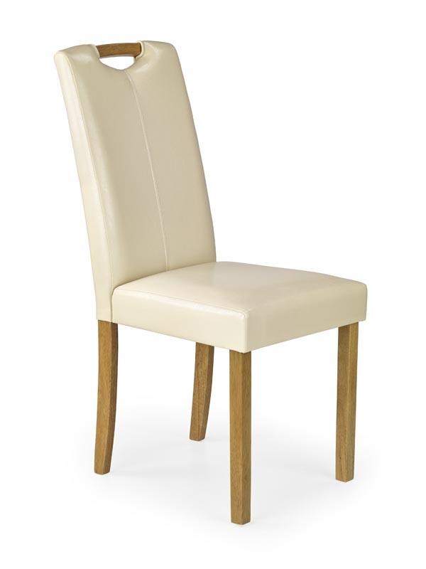 Scaun tapitat cu piele ecologica, cu picioare din lemn Caro Cream / Beech, l42xA58xH96 cm