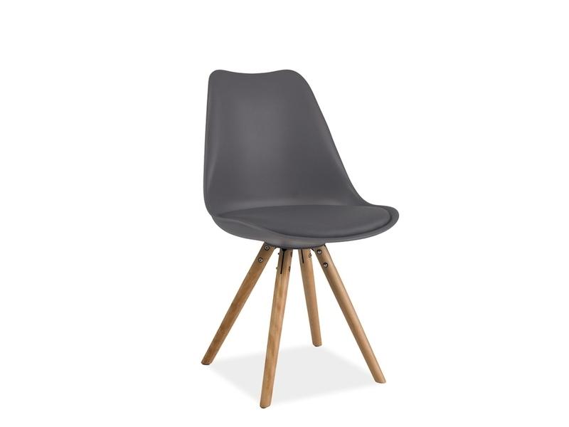 Scaun tapitat cu piele ecologica, cu picioare din lemn de fag Eric Gri, l49xA43xH83 cm