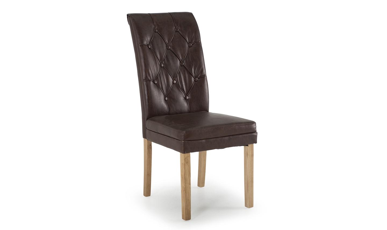 Scaun tapitat cu piele ecologica cu picioare din lemn de stejar Caprice Oak / Brown l49xA64xH104 cm