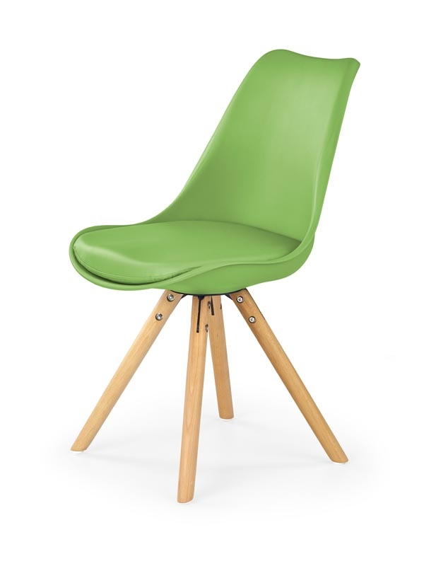Scaun tapitat cu piele ecologica, cu picioare din lemn K201 Green, l48xA57xH81 cm