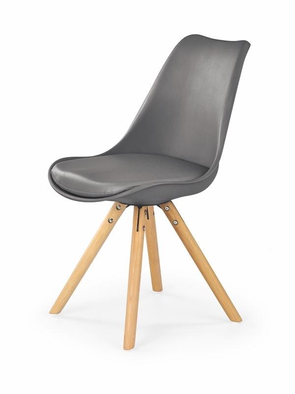 Scaun tapitat cu piele ecologica, cu picioare din lemn K201 Grey, l48xA57xH81 m imagine