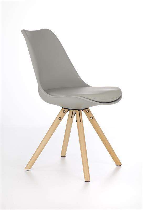 Scaun din lemn tapitat cu piele ecologica K201 Khaki
