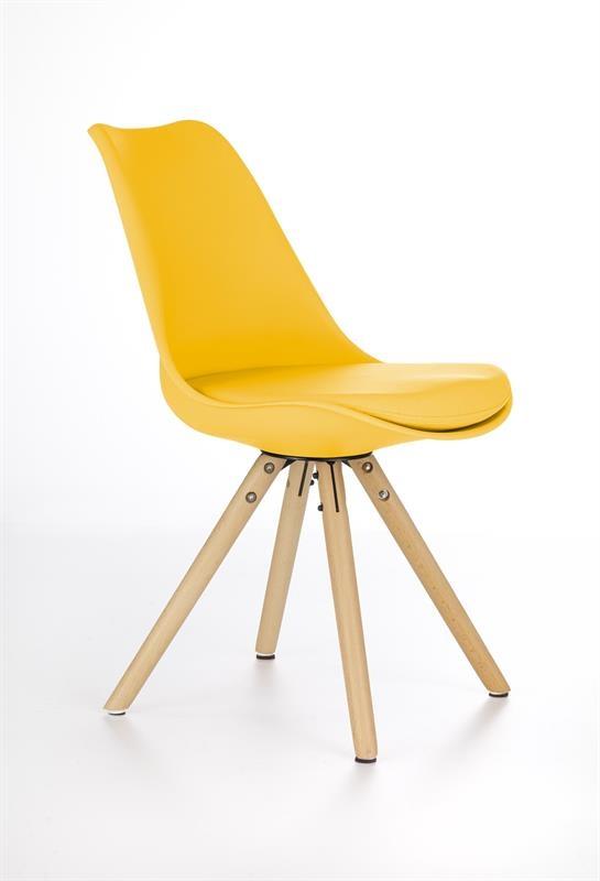 Scaun tapitat cu piele ecologica, cu picioare din lemn K201 Yellow, l48xA57xH81 cm