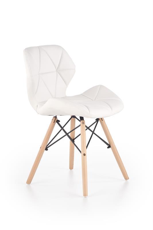 Scaun tapitat cu piele ecologica, cu picioare din lemn K281 White, l48xA51xH74 cm