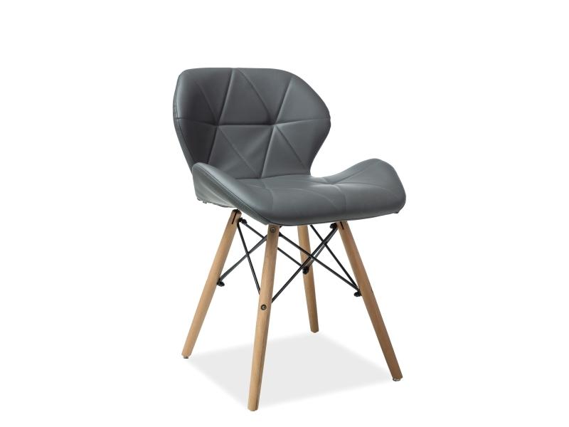 Scaun tapitat cu piele ecologica, cu picioare din lemn Matias Grey, l49xA50xH72 cm