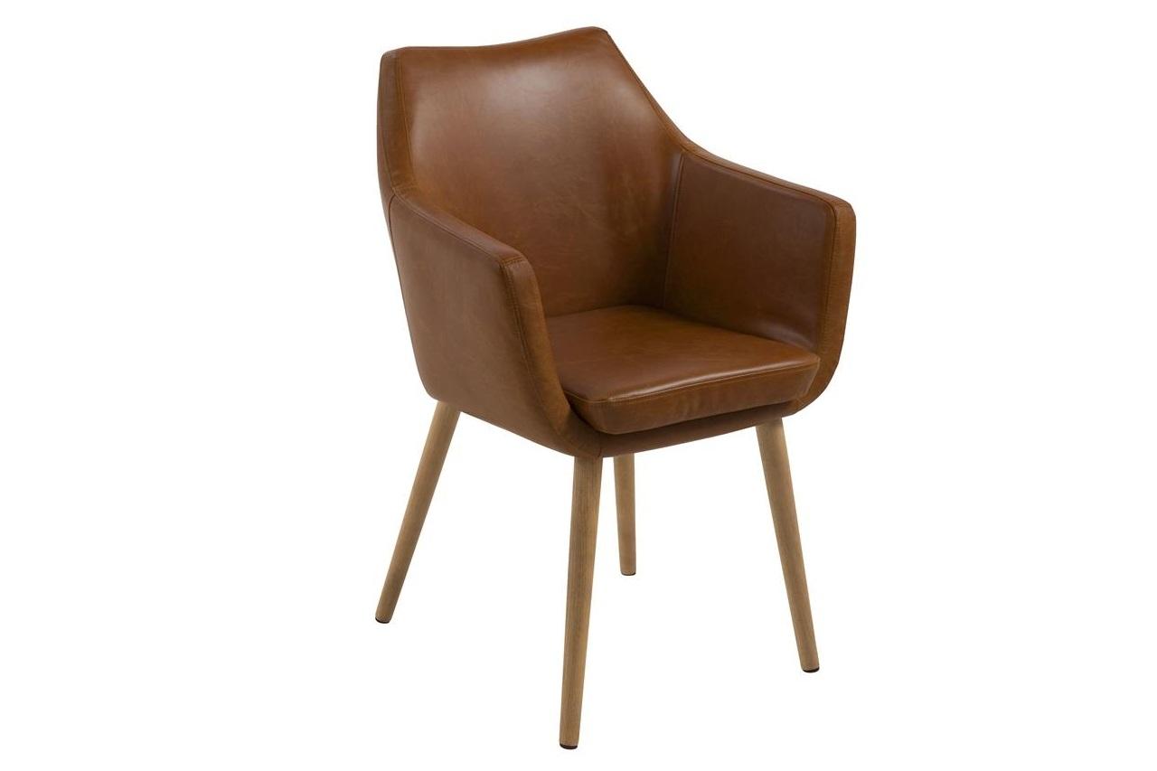 Scaun tapitat cu piele ecologica si picioare din lemn Nora Maro / Stejar, l58xA58xH84 cm