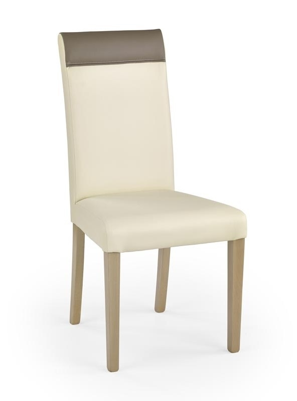 Scaun tapitat cu piele ecologica, cu picioare din lemn Norbert Cream / Sonoma Oak, l47xA60xH99 cm imagine