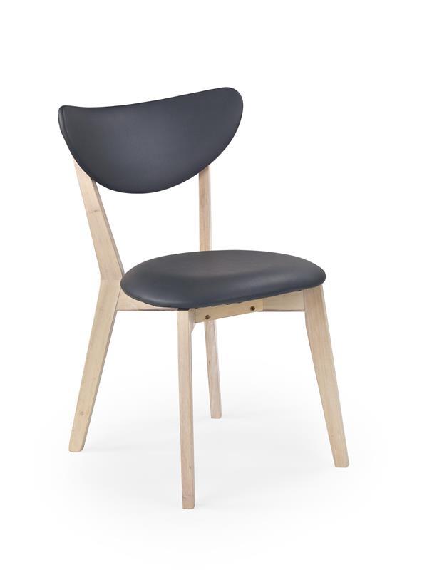 Scaun tapitat cu piele ecologica, cu picioare din lemn Polo Dark Grey, l46xA55xH79 cm