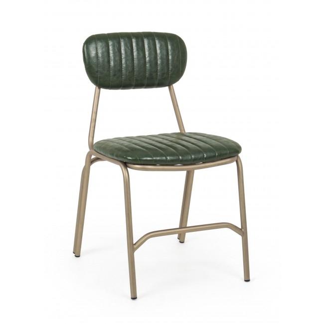 Scaun tapitat cu piele ecologica, cu picioare metalice Addy Verde inchis, l44xA55xH75 cm