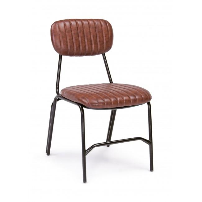 Scaun tapitat cu piele ecologica, cu picioare metalice Debbie Portocaliu inchis, l44xA55xH73 cm