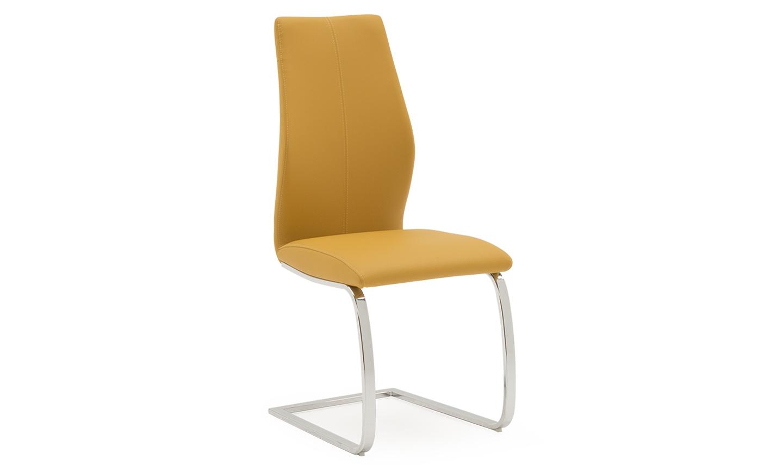 Scaun tapitat cu piele ecologica cu picioare metalice Elis Yellow l45xA60xH102 cm