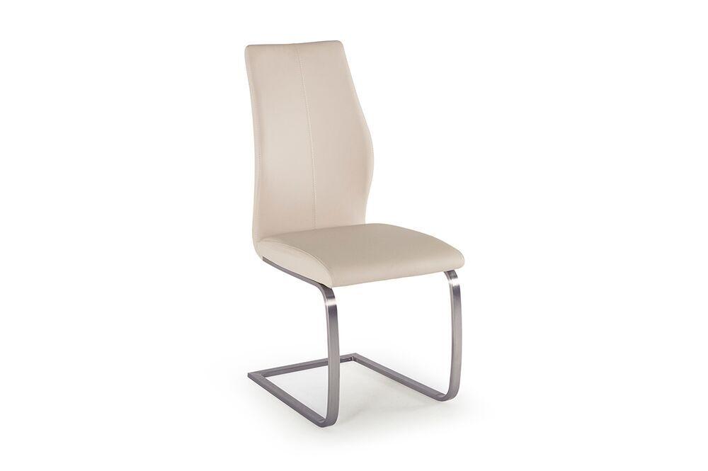 Scaun tapitat cu piele ecologica cu picioare metalice Irma Ivory l45xA60xH102 cm