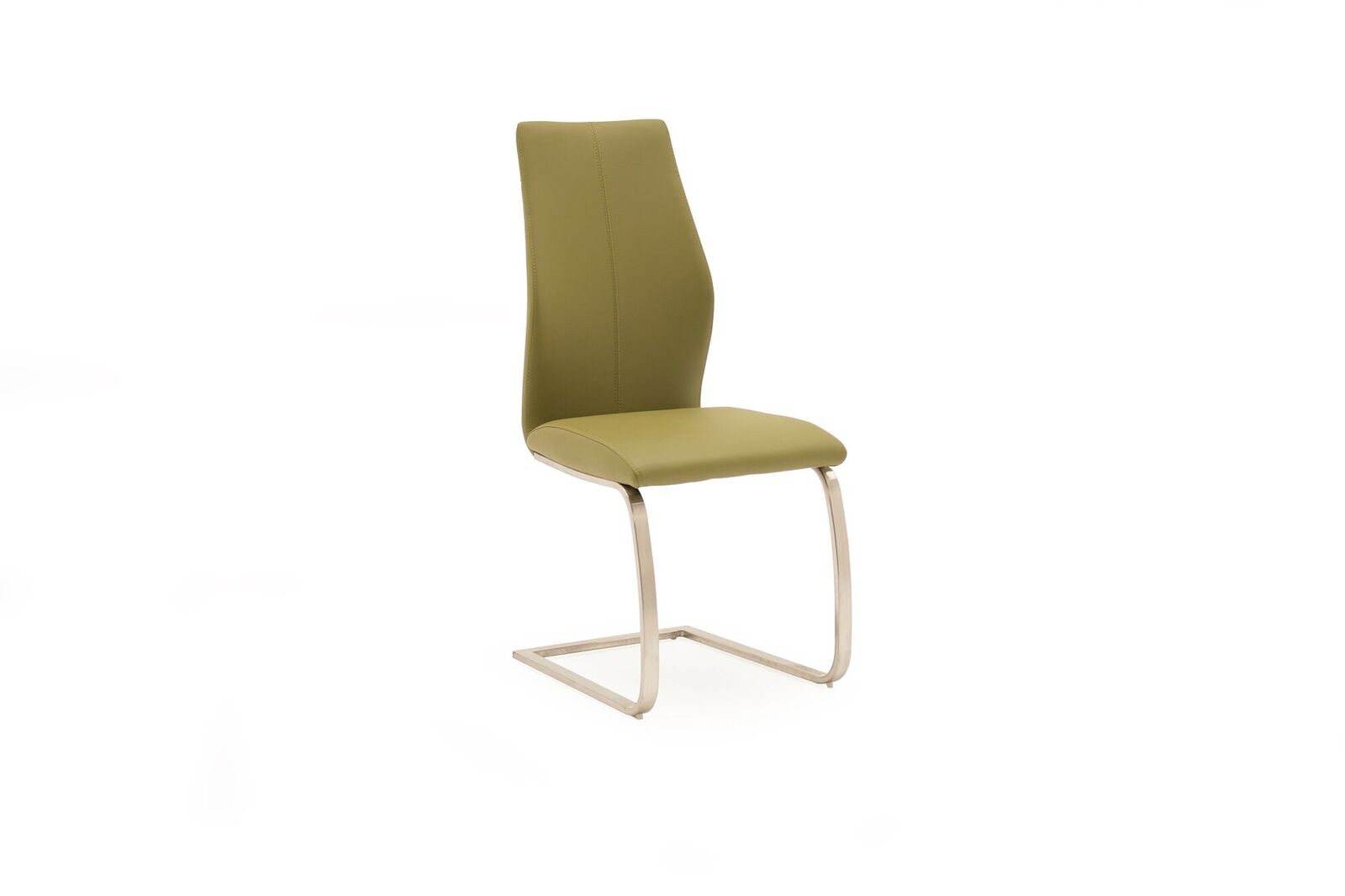 Set 2 scaune tapitate cu piele ecologica cu picioare metalice Irma Olive l45xA60xH102 cm