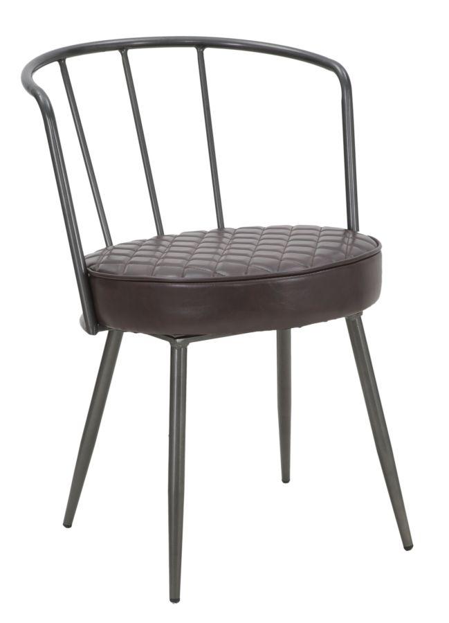 Scaun tapitat cu piele ecologica, cu picioare metalice Iron Line Maro / Gri inchis, l52xA58xH75 cm