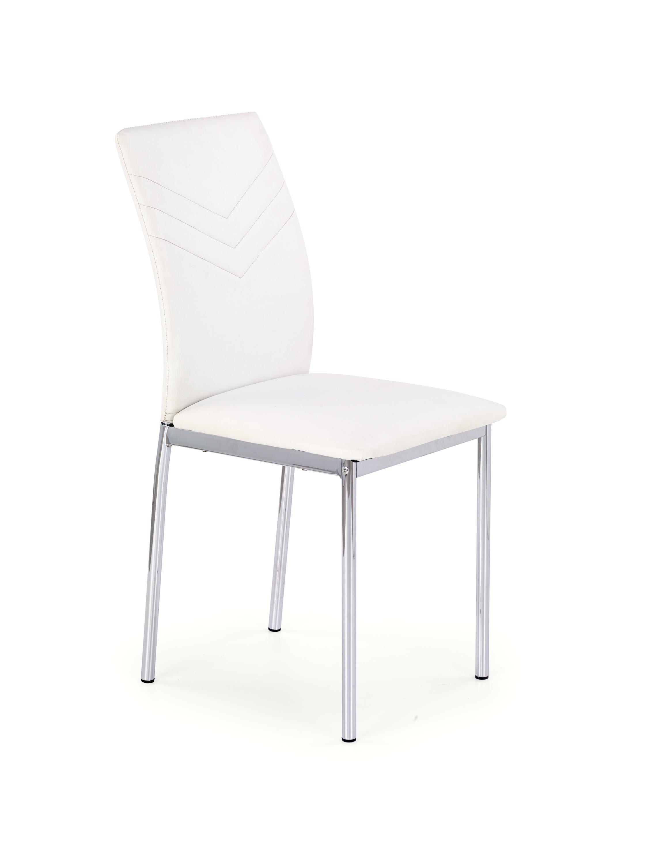 Scaun tapitat cu piele ecologica, cu picioare metalice K137 White, l43xA49xH92 cm