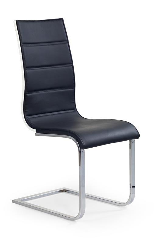 Scaun tapitat cu piele ecologica, cu picioare metalice K104 Black / White, l42xA56xH99 cm